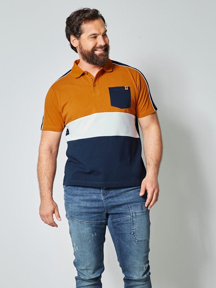 Men Plus Poloshirt aus reiner Baumwolle, Marineblau/Cognac