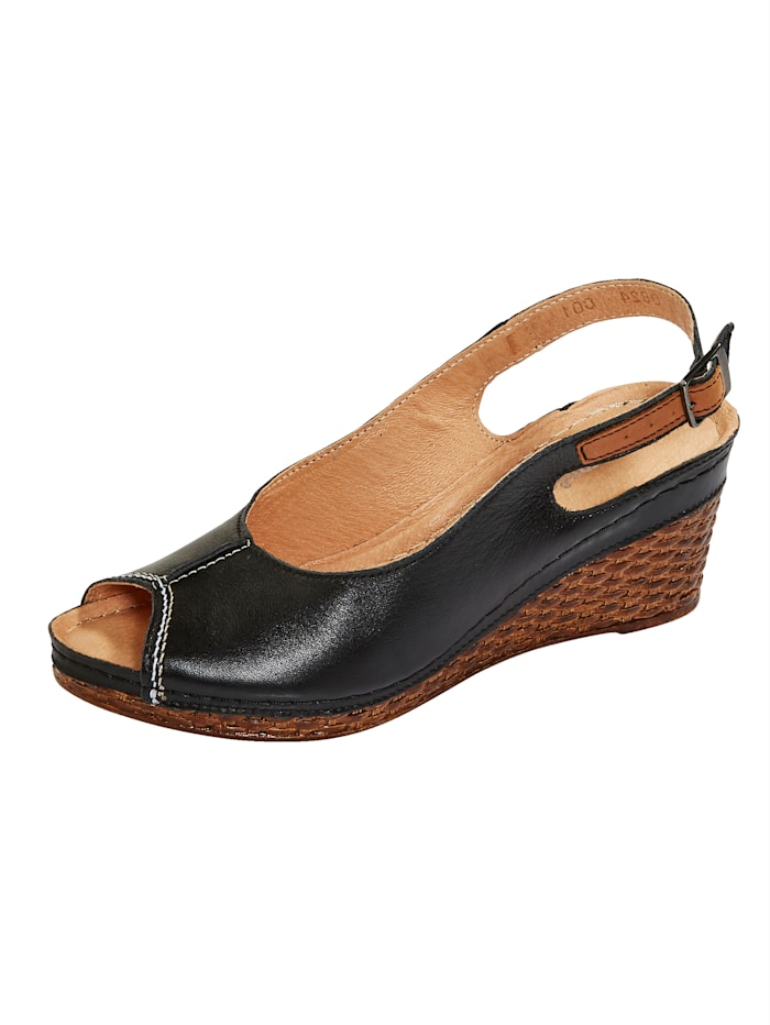 Naturläufer Slingback sandals with wedge heels, Black