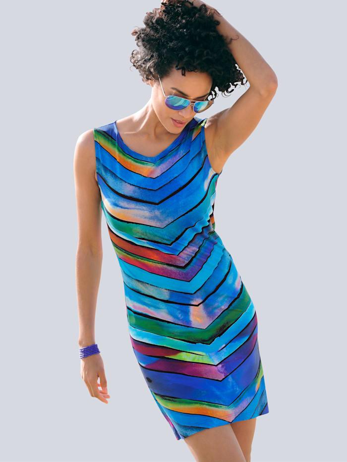 Alba Moda Gestreiftes Strandkleid in Etuiform, türkis-blau