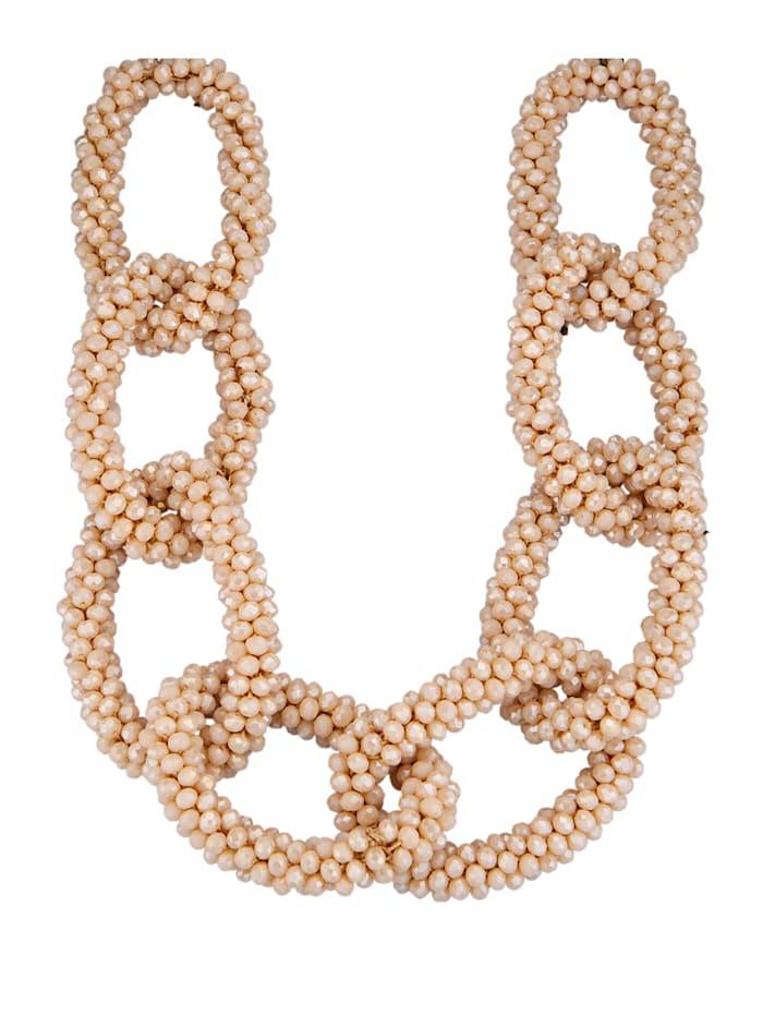 KLiNGEL Halskette mit Glassteinen, Beige