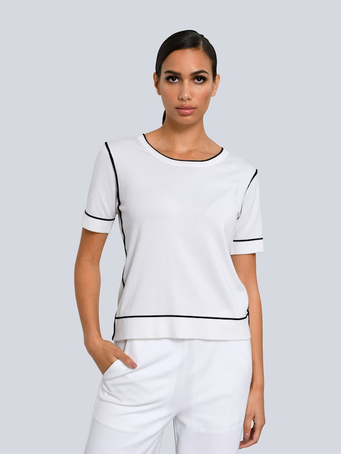 Alba Moda Trui met zijde, Wit/Zwart