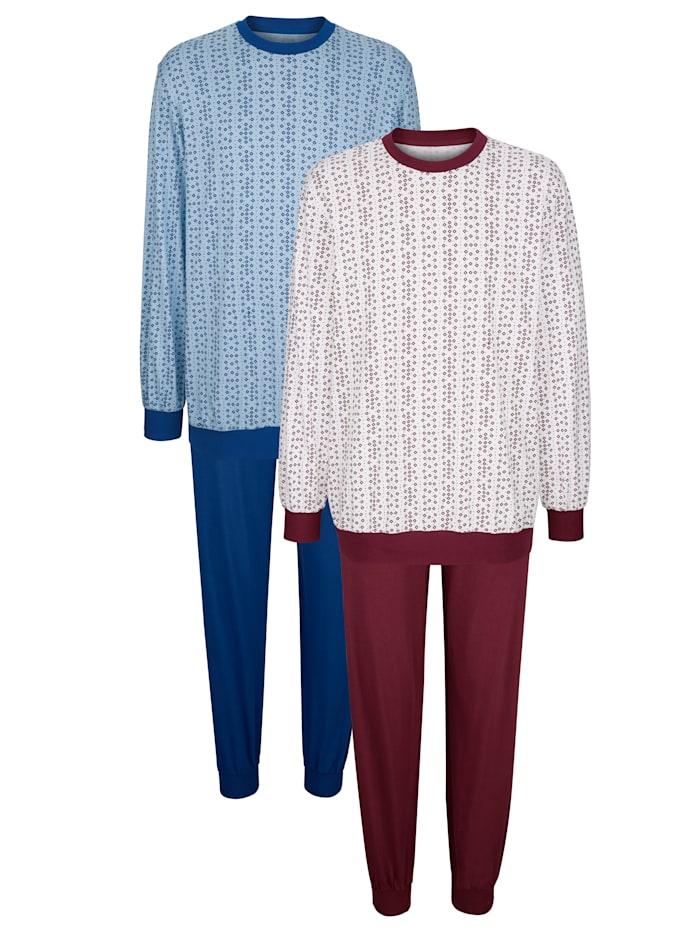 Roger Kent Pyžamo, Bordó/Svetle modrá