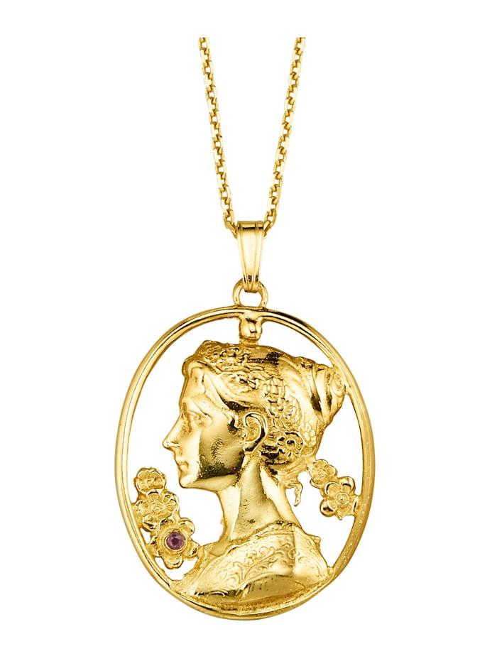 Ursula Christ Pendentif + chaîne avec chaîne, Coloris or jaune