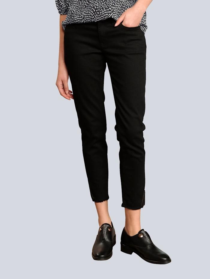 Raffaello Rossi Jeans mit dekorativem Saum, Schwarz