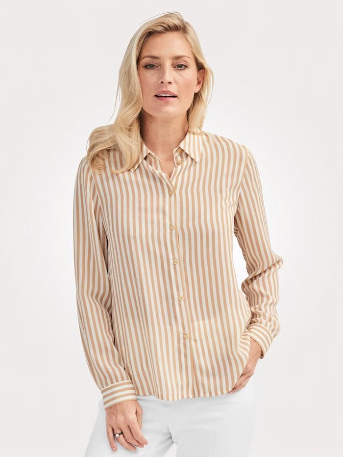 MONA Bluse mit Streifen-Dessin, Camel/Ecru