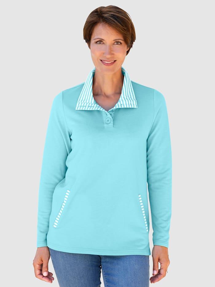 Paola Sweatshirt met gestreepte details, Lichtblauw