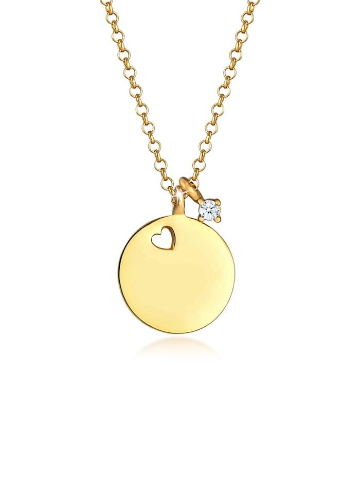 DIAMORE Halskette Plättchen Herz Diamant Solitär (0.03Ct) 925 Silber, Gold