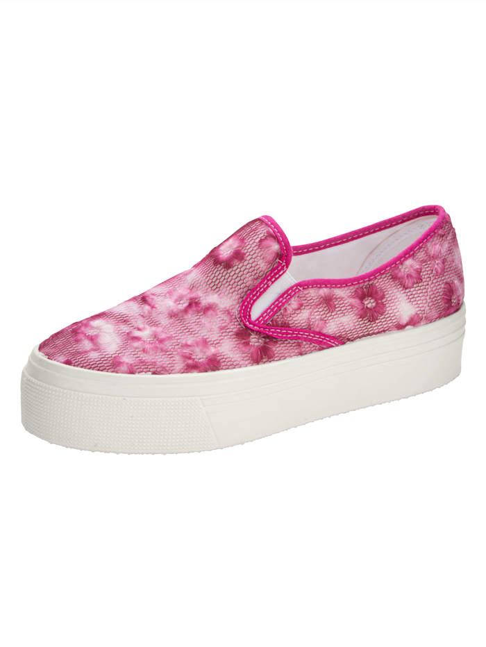 WENZ Plateauslipper mit floralem Spitzenbesatz, Pink