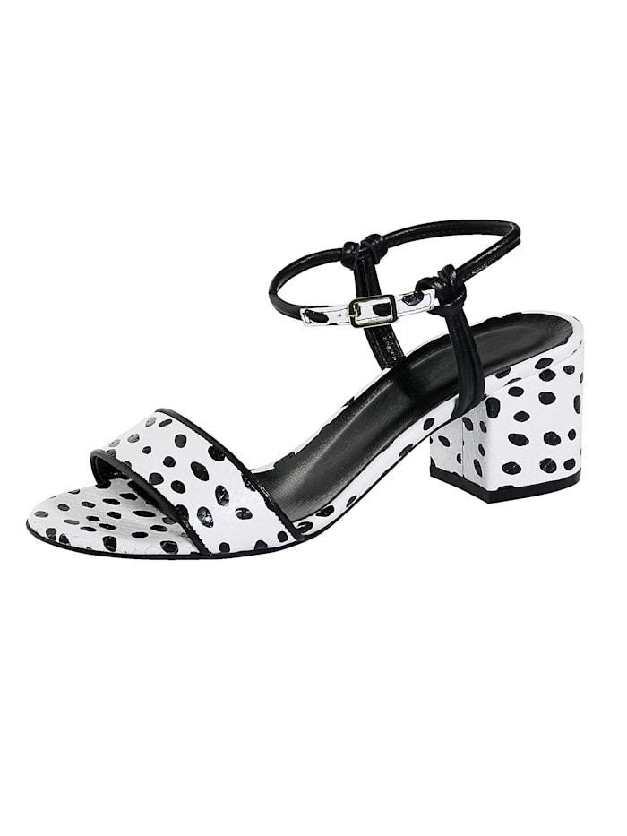 WENZ Sandale in kontrastreicher Tupfen-Optik, Weiß/Schwarz