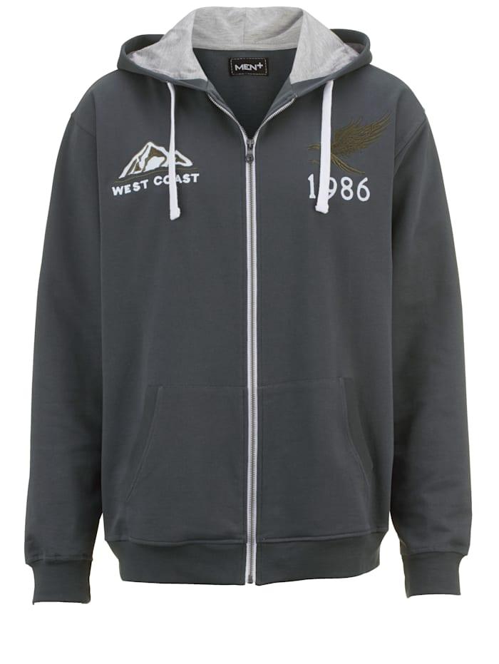 Men Plus Sweatshirtjacka med mer utrymme för magen, grå/olivgrön/vit