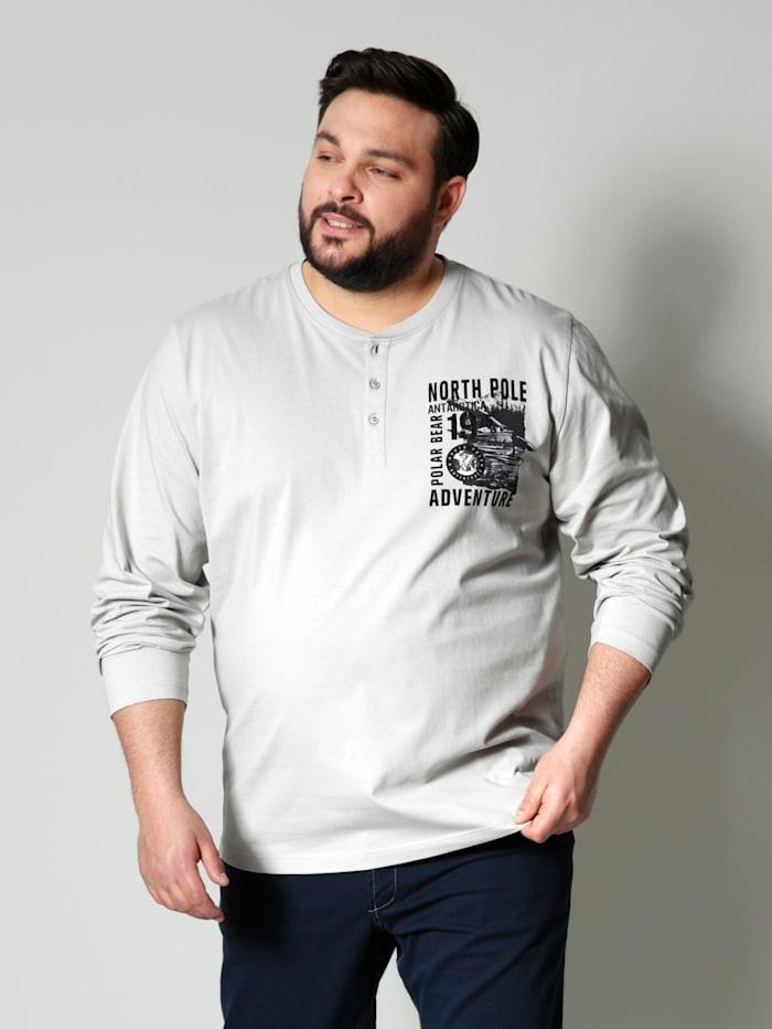Men Plus Henleyshirt aus reiner Baumwolle, Hellgrau/Marineblau
