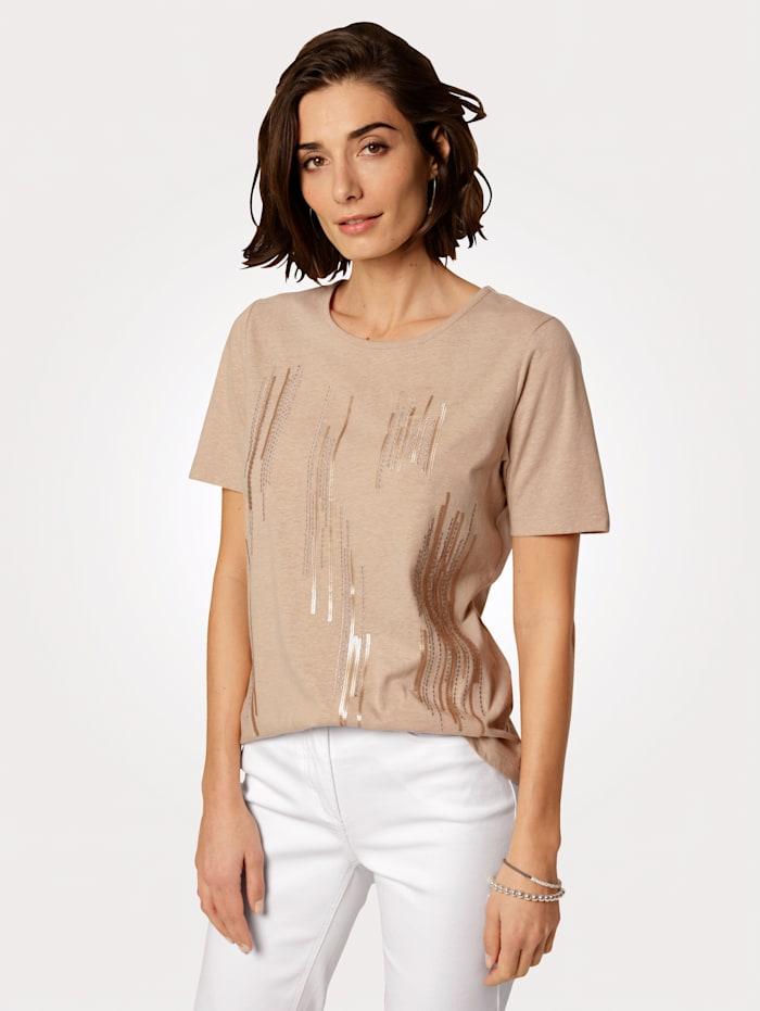 MONA Shirt mit platzierter Stickerei in Streifenoptik, Sand
