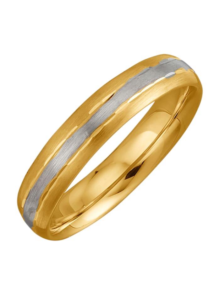 Partnerring diamantiert, Gelbgoldfarben