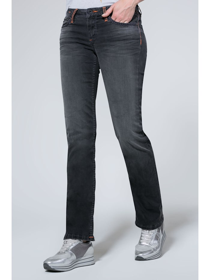SOCCX Jeans CO:LE mit Used-Optik und Boot Cut, anthra aged