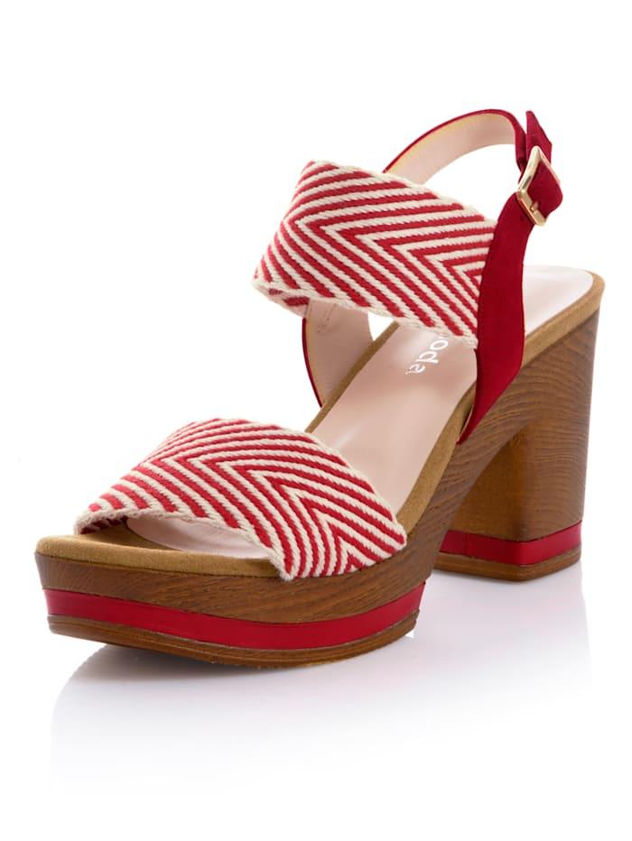 Alba Moda Sandalette mit grafischem Muster, Rot/Creme-Weiß