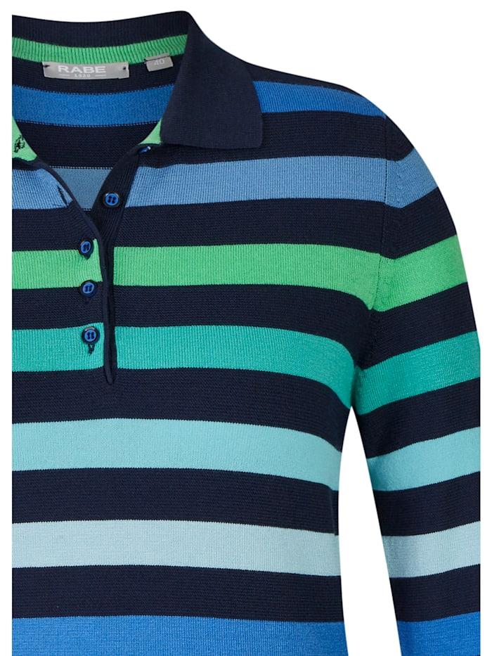 Pullover mit geringeltem Muster und Knopfleiste