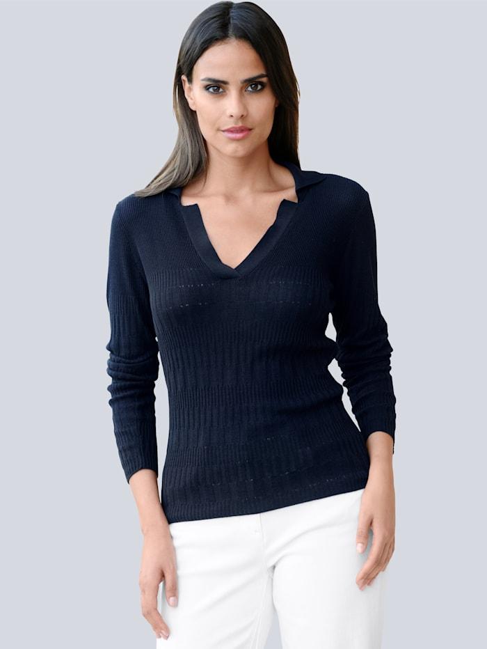Alba Moda Pullover in schönem Strukturstrick, Marineblau