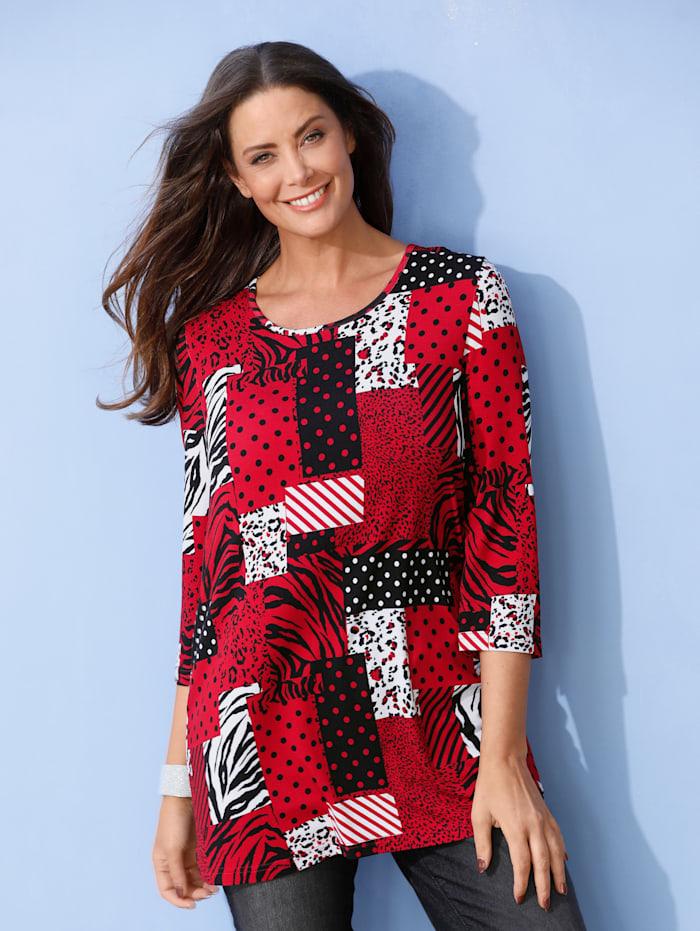 MIAMODA Shirt met patchworkdessin, Rood/Wit/Zwart