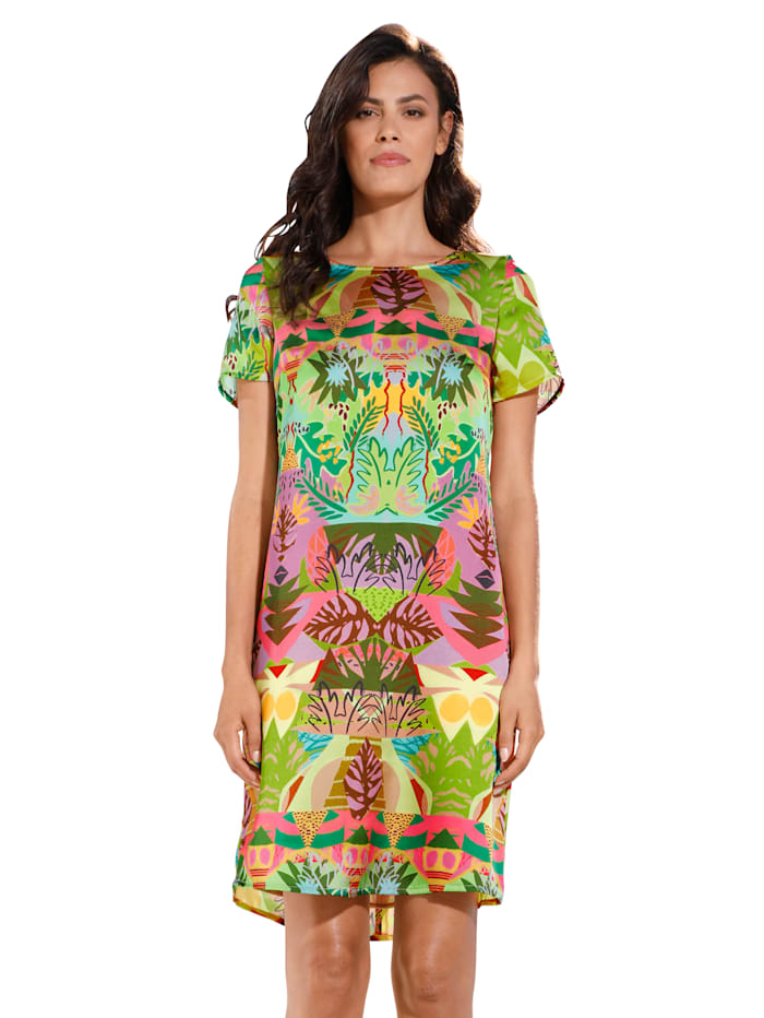 AMY VERMONT Šaty s potiskem, Zelená/Hořčicová/Pink/Růžová/Hnědá