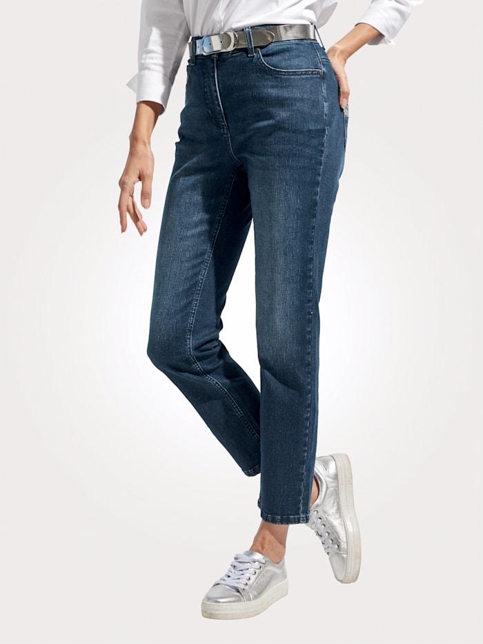 MONA Jeans mit dekorativer Stickerei, Dunkelblau