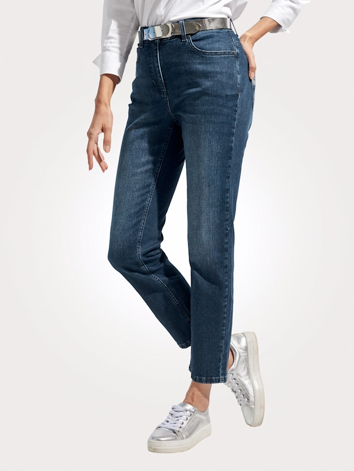 MONA Jeans met borduursel, Donkerblauw