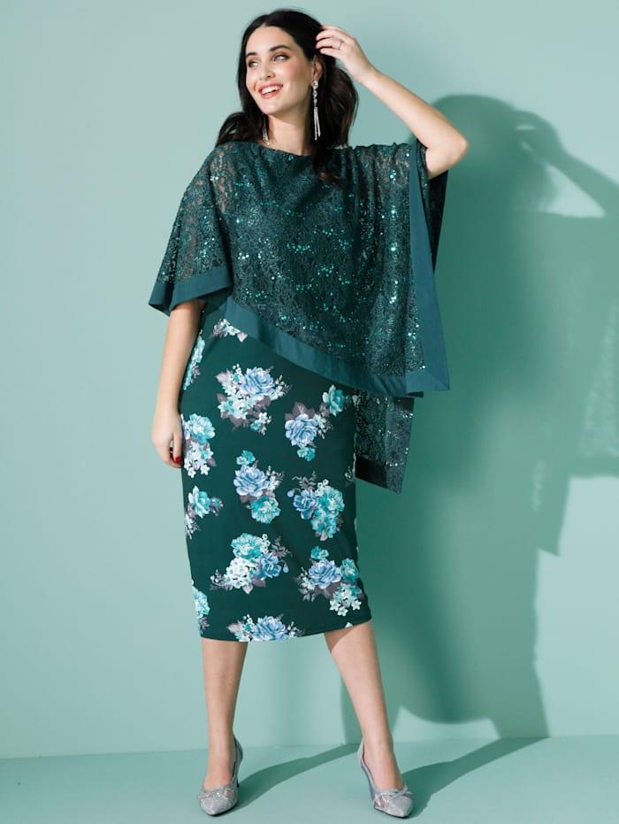 MIAMODA Kleid mit asymmetrischem Spitzenüberwurf, Grün