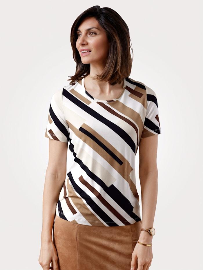MONA T-shirt à imprimé graphique, Écru/Marron/Noir