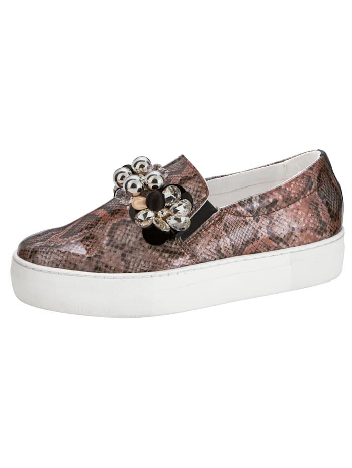 Sko med blomster- og perlepynt, Kobberfarget/Svart