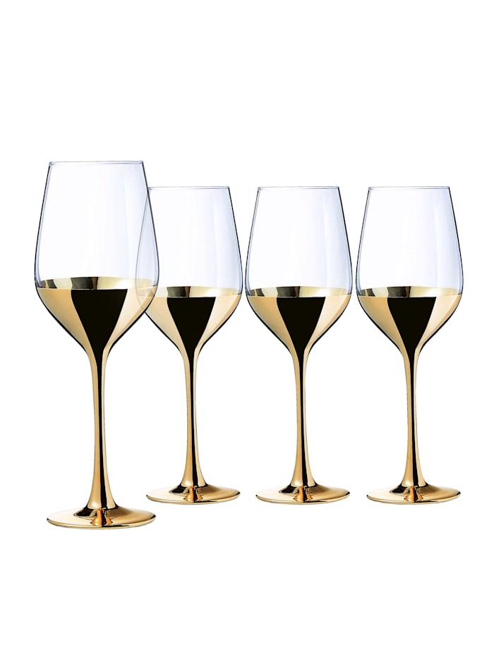 Creatable Sett med 4 vinglass -Golden Days-, Gullfarget