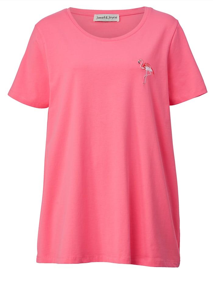 Shirt met flamingo-borduursel