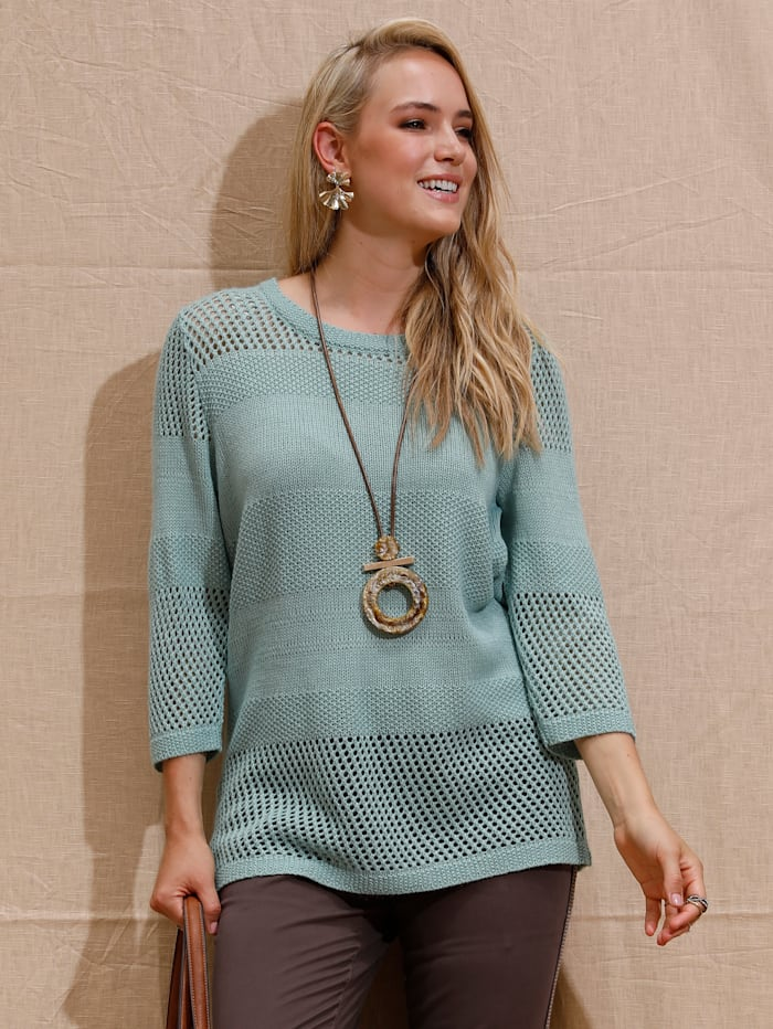 MIAMODA Pullover mit schönem Strickmuster, Mintgrün