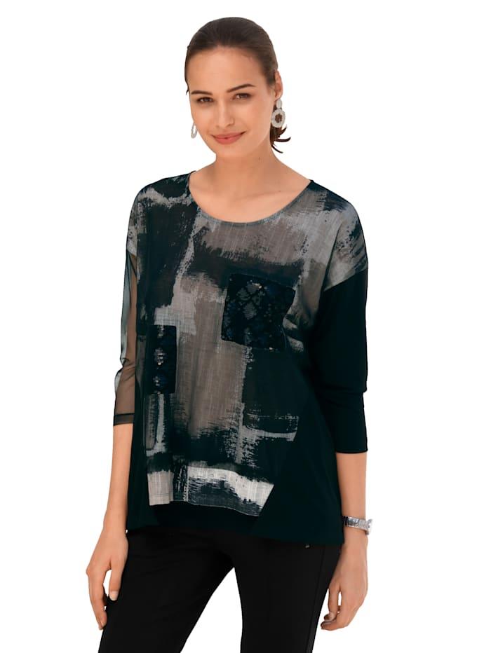 AMY VERMONT Shirt van een materialenmix, Zwart