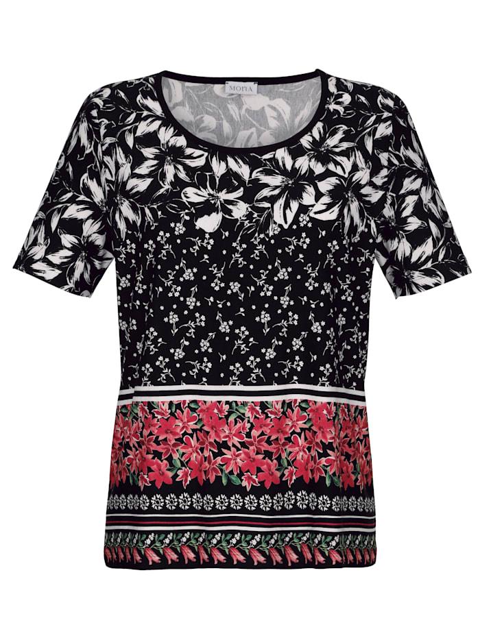 Shirt mit platzierten floralen Druck in Streifenoptik