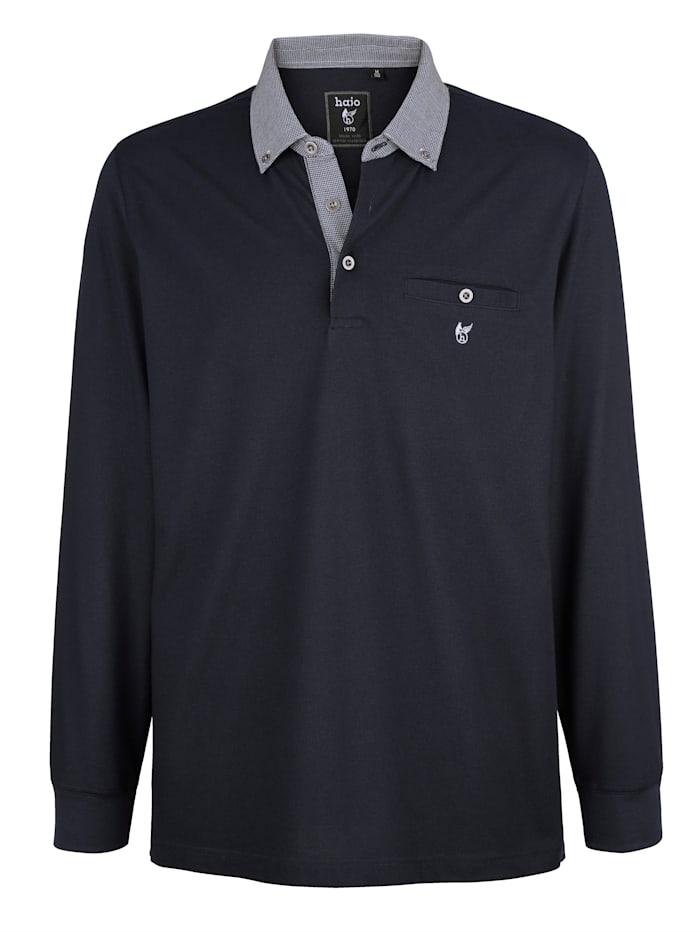 Hajo Poloshirt met contrasterende kraag, Marine