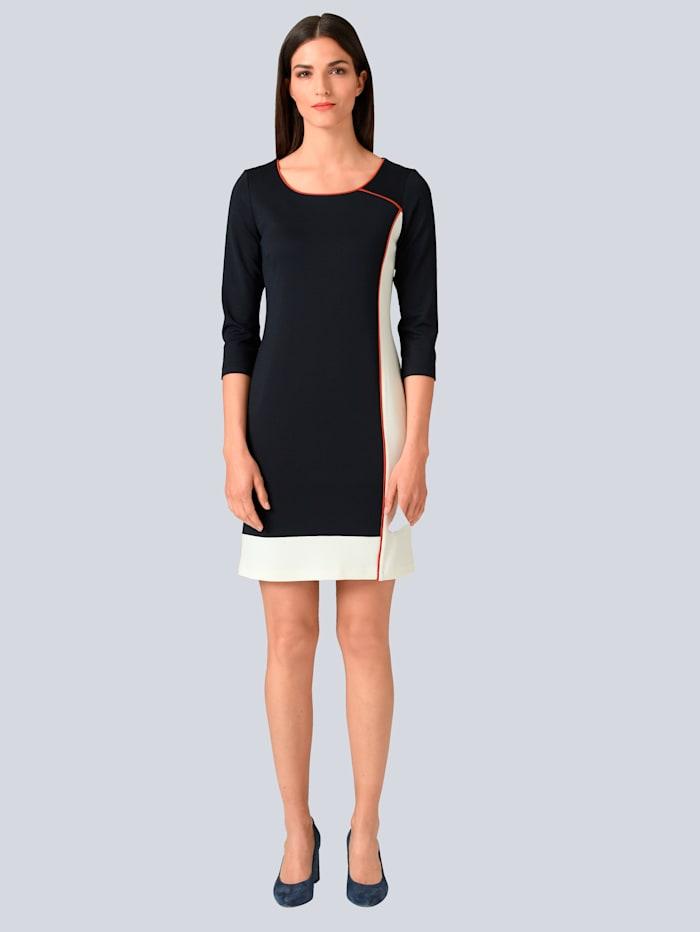 Alba Moda Robe d'aspect color block, Marine/Blanc cassé/Rouille