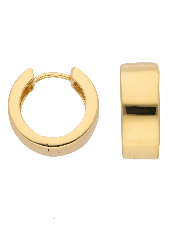 1001 Diamonds Damen Goldschmuck 585 Gold Ohrringe / Creolen Ø 15 mm, gold