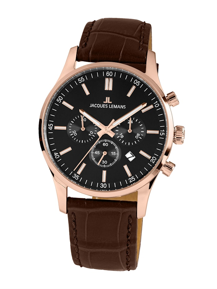 Jacques Lemans Herren-Uhr Chronograph Serie: London, Kollektion: Classic: 1- 2025D, Braun
