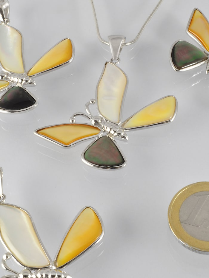 1001 Diamonds Damen Schmuck Edelstein Perlmutt Anhänger 925 Silber, silber