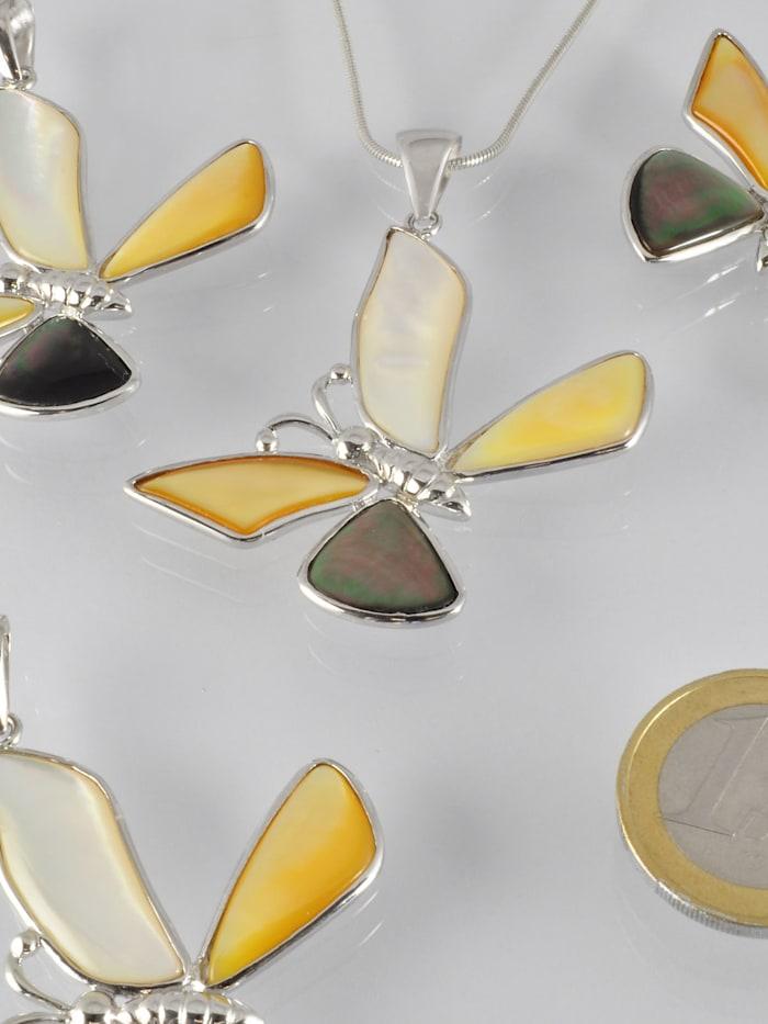 1001 Diamonds Damen Schmuck Edelstein Perlmutt Anhänger 925 Silber Herz, silber