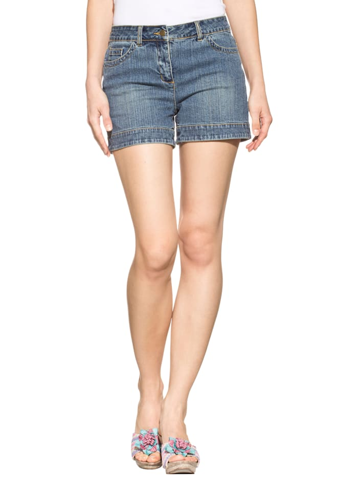 Alba Moda Jeans-Shorts im Used-Look, Blau