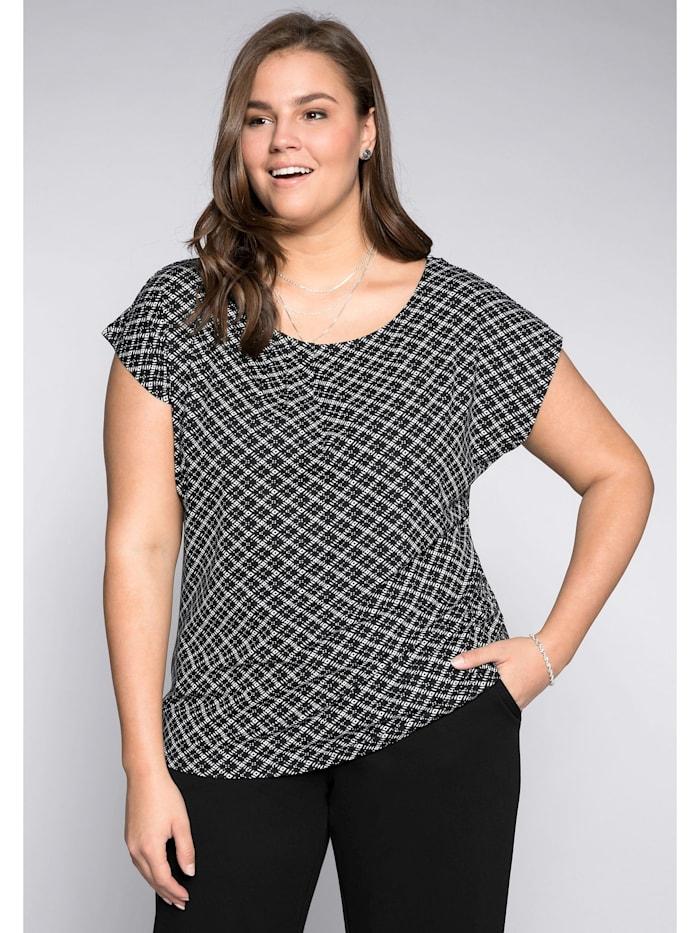Sheego Shirt mit grafischem Alloverdruck, schwarz-weiß
