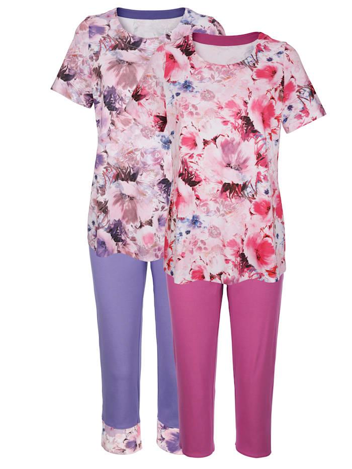 Harmony Pyjama met digitale bloemenprint, Ecru/Fuchsia/Paars
