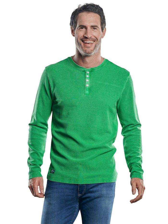 Engbers Strukturiertes Henley Shirt, Grasgrün