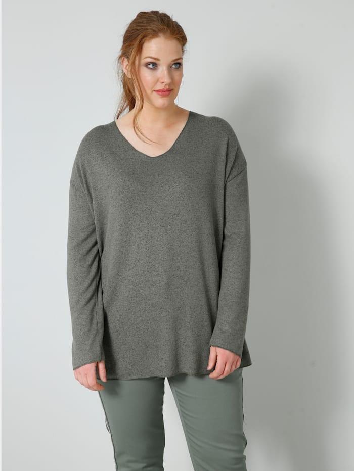 Sara Lindholm Shirt in gemêleerde look, Olijf