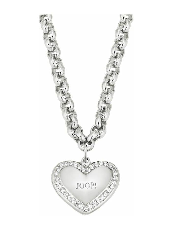 JOOP! Kette mit Anhänger für Damen, Sterling Silber 925, Herz, Silber