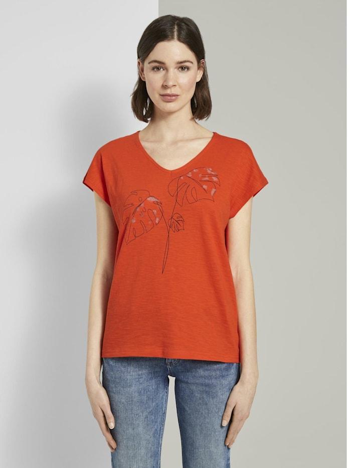 T-Shirt mit Artwork und V-Ausschnitt