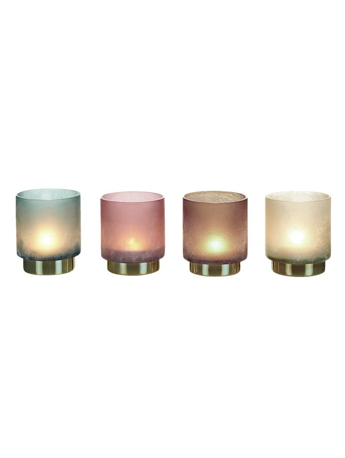 IMPRESSIONEN living Teelichthalter-Set, 4-tlg., grau/blau/rosé/braun