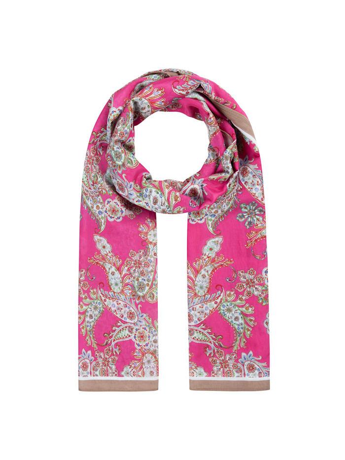 Codello Hauchfeiner Paisley-Schal aus Baumwolle und Seide, dark pink