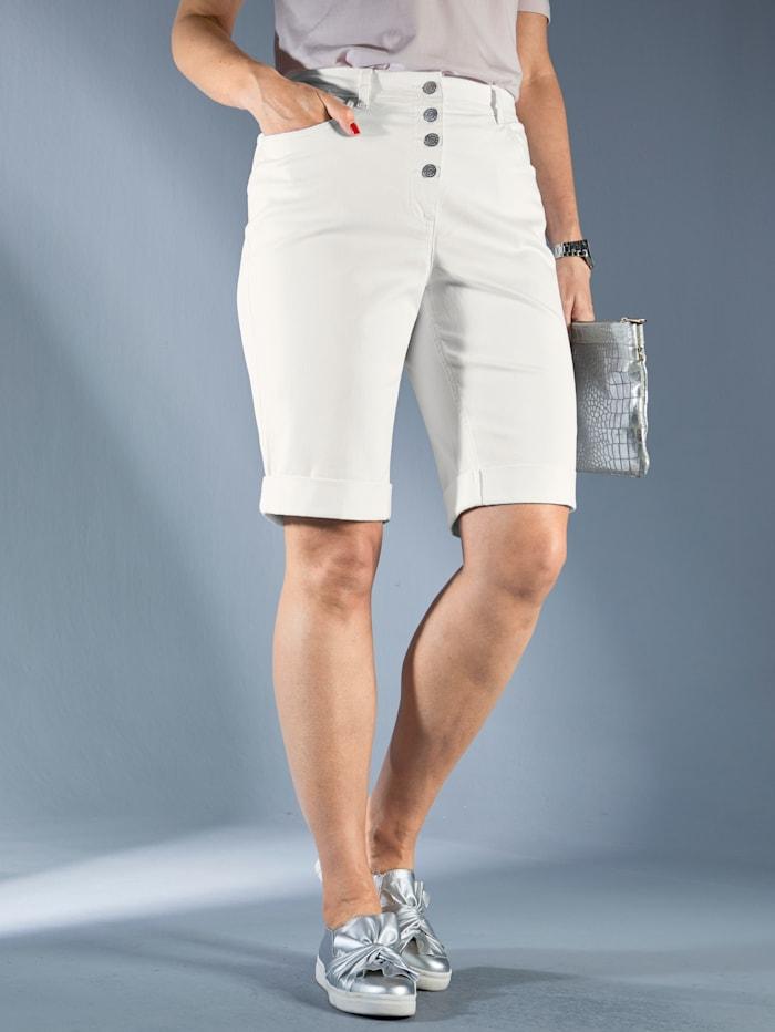 MIAMODA Bermudashorts mit fixiertem Umschlag am Saum, Off-white
