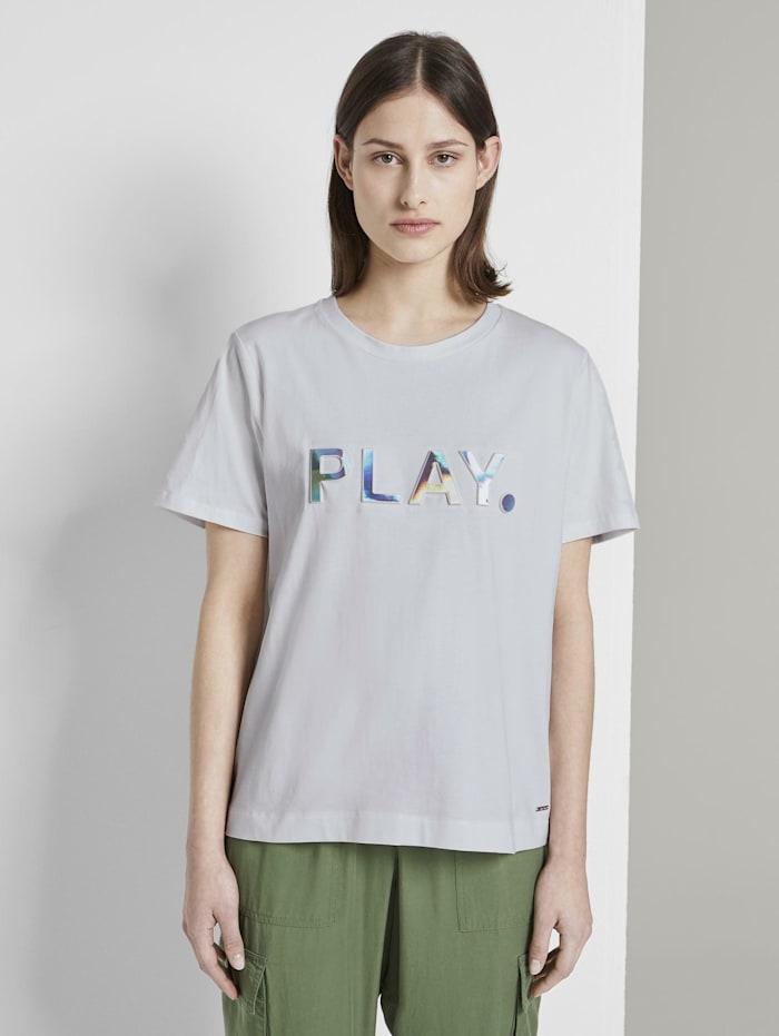 Tom Tailor Denim Lockeres T-Shirt mit Print, Off White
